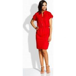 Kobieca elegancka sukienka z kieszonkami czerwony RENEE. Brązowe sukienki balowe marki Lemoniade, z klasycznym kołnierzykiem. Za 119,00 zł.