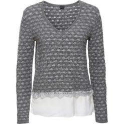 Swetry klasyczne damskie: Sweter dzianinowy z wstawką z tkaniny bonprix szary melanż – biel wełny