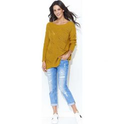 Musztardowy Klasyczny Sweter w Łódkę z Ażurowym Przodem. Czerwone swetry klasyczne damskie marki Molly.pl, l, z jeansu, biznesowe, z dekoltem na plecach, z długim rękawem. Za 113,90 zł.