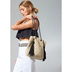 Torebki worki: Pleciona torebka typu worek - Beżowy