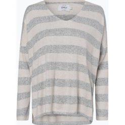 ONLY - Damska koszulka z długim rękawem, szary. Szare topy sportowe damskie ONLY, s, w paski. Za 79,95 zł.