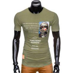 T-SHIRT MĘSKI Z NADRUKIEM S929 - KHAKI. Brązowe t-shirty męskie z nadrukiem Ombre Clothing, m. Za 29,00 zł.