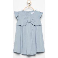 Sukienka z rękawami z falbanek - Niebieski. Szare sukienki dziewczęce z falbanami marki LOVE CATS, z haftami, z bawełny, eleganckie, bez rękawów. Za 39,99 zł.