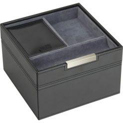 Zegarki męskie: Pudełko na spinki i zegarki Stackers z pokrywką czarno-szare