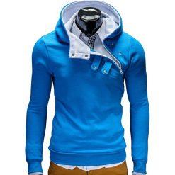 Bluzy męskie: BLUZA MĘSKA Z KAPTUREM PACO – TURKUSOWO/BIAŁA