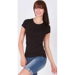 Bluzki damskie: Bluzka basic krótki rękaw okrągły dekolt czarna