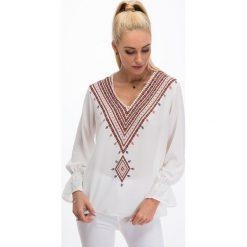 Kremowa koszulowa bluzka 8533. Białe bluzki koszulowe Fasardi, l. Za 44,00 zł.
