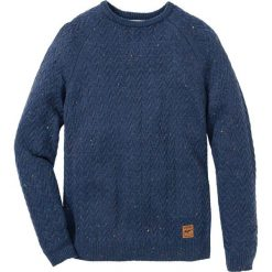 Sweter z okrągłym dekoltem w warkocze Regular Fit bonprix ciemnoniebieski melanż. Niebieskie swetry klasyczne męskie marki bonprix, l, melanż, z okrągłym kołnierzem. Za 109,99 zł.