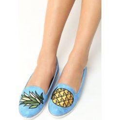 Mokasyny damskie: Jasnoniebieskie Mokasyny Pineapple