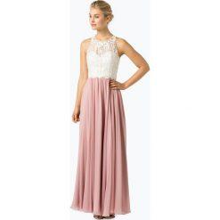 Laona - Damska sukienka wieczorowa, beżowy. Brązowe sukienki balowe Laona, xs, z koronki, z podwójnym kołnierzykiem. Za 799,95 zł.