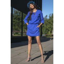 Chabrowa Codzienna Komfortowa Sukienka Sznurowana przy Dekolcie. Niebieskie sukienki na komunię Molly.pl, na co dzień, s, ze sznurowanym dekoltem. Za 149,90 zł.
