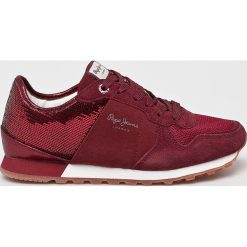 Pepe Jeans - Buty. Czerwone buty sportowe damskie Pepe Jeans, z jeansu. W wyprzedaży za 279,90 zł.