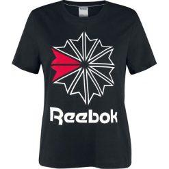 Reebok GR Tee Koszulka damska czarny. Czarne bluzki asymetryczne Reebok, s, z nadrukiem, prążkowane. Za 79,90 zł.