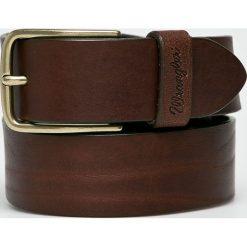 Wrangler - Pasek skórzany. Brązowe paski męskie Wrangler, w paski, z materiału. Za 189,90 zł.