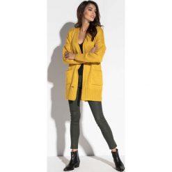 Kardigany damskie: Żółty Klasyczny Wełniany Kardigan z Kieszeniami