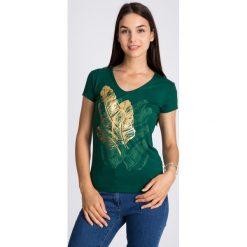 Bluzki damskie: Zielona bluzka z piórami QUIOSQUE