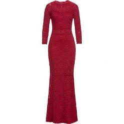 Sukienka koronkowa bonprix ciemnoczerwony. Czerwone sukienki hiszpanki bonprix, z koronki. Za 199,99 zł.