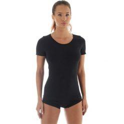Bluzki asymetryczne: Brubeck Koszulka damska z krótkim rękawem COMFORT WOOL czarna r. M (SS11020)