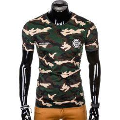 T-SHIRT MĘSKI Z NADRUKIEM S1010 - BRĄZOWY/MORO. Brązowe t-shirty męskie z nadrukiem Ombre Clothing, m. Za 35,00 zł.