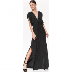 WIECZOROWA SUKIENKA NA 3-STYLE Z EFEKTEM GWIEZDNEGO PYŁU. Czarne długie sukienki marki Top Secret, na jesień, eleganckie, z długim rękawem. Za 259,99 zł.