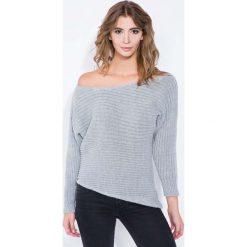 Swetry klasyczne damskie: Szary Sweter Asymetryczny z Łódkowym Dekoltem