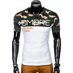 T-SHIRT MĘSKI Z NADRUKIEM S1003 - BRĄZOWY/MORO. Brązowe t-shirty męskie z nadrukiem marki Ombre Clothing, l. Za 35,00 zł.