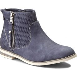 Botki JENNY FAIRY - WS1275-10 Granatowy 1. Niebieskie buty zimowe damskie Jenny Fairy, z materiału, na obcasie. W wyprzedaży za 99,99 zł.