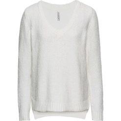Swetry klasyczne damskie: Sweter dzianinowy bonprix biel wełny