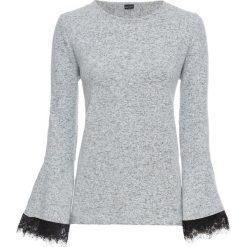 Bluza z koronką bonprix szary melanż. Szare bluzy damskie bonprix, w koronkowe wzory, z koronki. Za 74,99 zł.