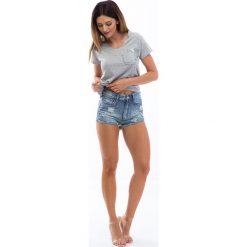 Bermudy damskie: Jeansowe szorty z perełkami 0791