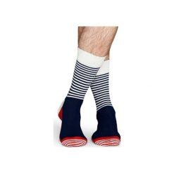 Skarpetki Happy Socks - Half Stripe (SH01-068). Szare skarpetki męskie Happy Socks, w kolorowe wzory, z bawełny. Za 34,90 zł.