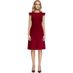 Bordowa Sukienka Trapezowa z Rękawem Skrzydełko. Czerwone sukienki balowe marki Molly.pl, do pracy, l, z klasycznym kołnierzykiem, mini, oversize. Za 139,90 zł.