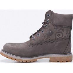 Timberland - Botki 6IN Premium Boot. Szare botki damskie na obcasie marki Timberland, z materiału, na sznurówki. W wyprzedaży za 499,90 zł.