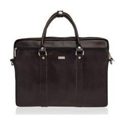Skórzana torba na ramię laptopa Solier MARCEL. Czarne torby na ramię męskie Solier, w paski, ze skóry. Za 499,00 zł.