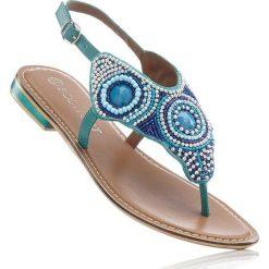 Sandały skórzane japonki bonprix turkusowy. Niebieskie klapki damskie marki bonprix. Za 124,99 zł.