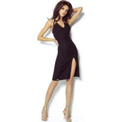 Czarna Sukienka Wiązana na Karku. Czarne sukienki balowe Molly.pl, l, z tkaniny, dekolt w kształcie v, midi. Za 209,90 zł.