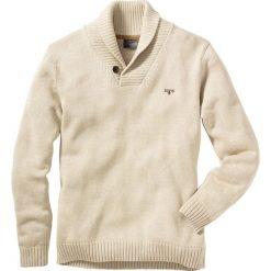 Sweter Regular Fit bonprix naturalny melanż. Białe swetry klasyczne męskie bonprix, l, z haftami, ze skóry. Za 99,99 zł.