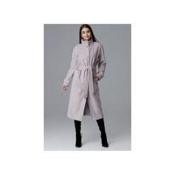 Płaszcz M624 Beż. Szare płaszcze damskie marki FIGL, m, z bawełny, eleganckie, z asymetrycznym kołnierzem, z długim rękawem. Za 329,00 zł.