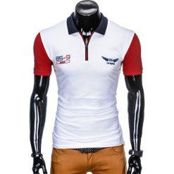 KOSZULKA MĘSKA POLO Z NADRUKIEM S880 - BIAŁY. Białe koszulki polo marki Ombre Clothing, m, z nadrukiem. Za 39,00 zł.