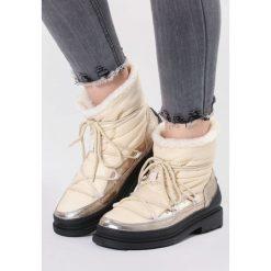 Beżowe Śniegowce No Need. Brązowe buty zimowe damskie vices, z okrągłym noskiem, na obcasie. Za 139,99 zł.