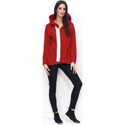 Bluzy sportowe damskie: Czerwona Bluza na Suwak z Kapturem