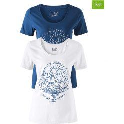 Koszulki (2 szt.) w kolorze niebieskim i białym. Szare koszule nocne i halki marki Esprit. W wyprzedaży za 73,95 zł.