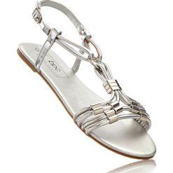 Sandały bonprix srebrny. Szare rzymianki damskie bonprix, z aplikacjami. Za 69,99 zł.