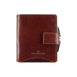 Portfele damskie: Skórzany portfel w kolorze brązowym – (D)11 x (S)10 cm