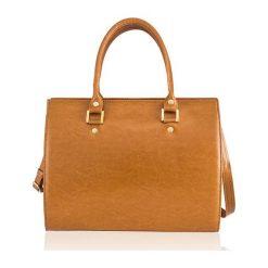 SKÓRZANA TORBA DO RĘKI  FELICE GOLD GATTO BRĄZ MELANIE. Białe torby na laptopa marki FeliceGold, w paski, z bawełny. Za 399,00 zł.