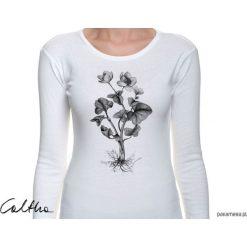 Kaczeniec - damska koszulka z rękawem. Białe bluzki longsleeves Pakamera. Za 79,00 zł.