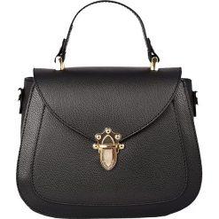 Torebki klasyczne damskie: Skórzana torebka w kolorze czarnym – 22 x 20 x 11 cm