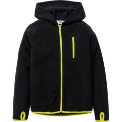 Bluzy chłopięce: Bluza z polaru z kontrastowymi elementami bonprix czarno-zielona limonka