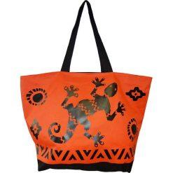 """Torba plażowa """"Acapulco"""" w kolorze czarno-pomarańczowym - 35 x 58 x 23 cm. Brązowe torby plażowe Le Comptoir de la Plage, z tworzywa sztucznego. W wyprzedaży za 38,95 zł."""