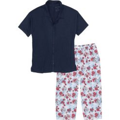 Piżamy damskie: Piżama ze spodniami 3/4 bonprix ciemnoniebieski z nadrukiem